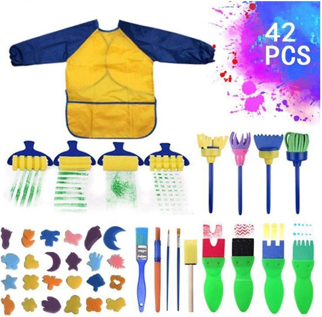 42 Pcs Dapprentissage Pour Enfants Peinture Kit /Éponge Peinture Brosses Dessin Peinture Outils Avec Peinture /Étanche Smock Tablier Pour Enfant En Bas /Âge Enfants Votre Choix Id/éal