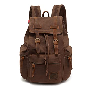 b9152bae11fe Amazon.com  High Capacity Canvas Vintage Backpack - for School Hiking  Travel 12-17