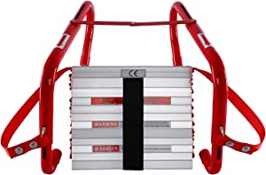 WINSENSE Retractable Fire Escape Ladder 2 Story Homes, 15 Foot with Wide Aluminum Steps for Adults Emergency Window Exit