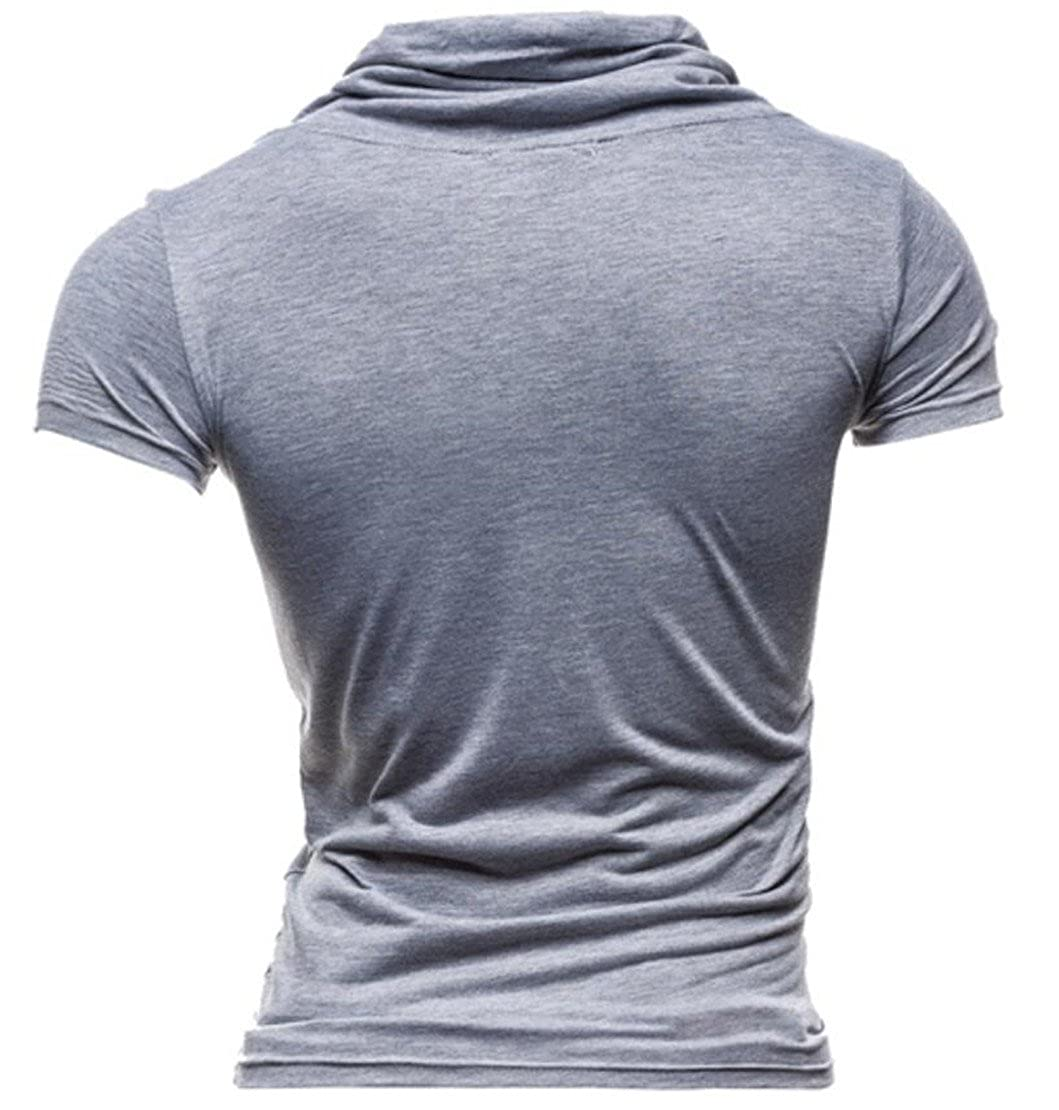 Frieed Mens Casual Drawstring Cowl Neck Buttons Short Sleeve Polo Shirts