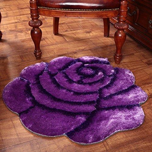 おしゃれな立体バラ、寝室のベッドサイドラウンド、コンピュータチェア(カラー:パープル、サイズ:101×101cm) B07SJJXD19 Purple 101*101cm