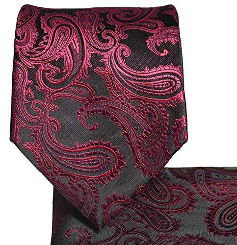 Men's Paisley Necktie Set (Burgundy/Black) #600-U ()