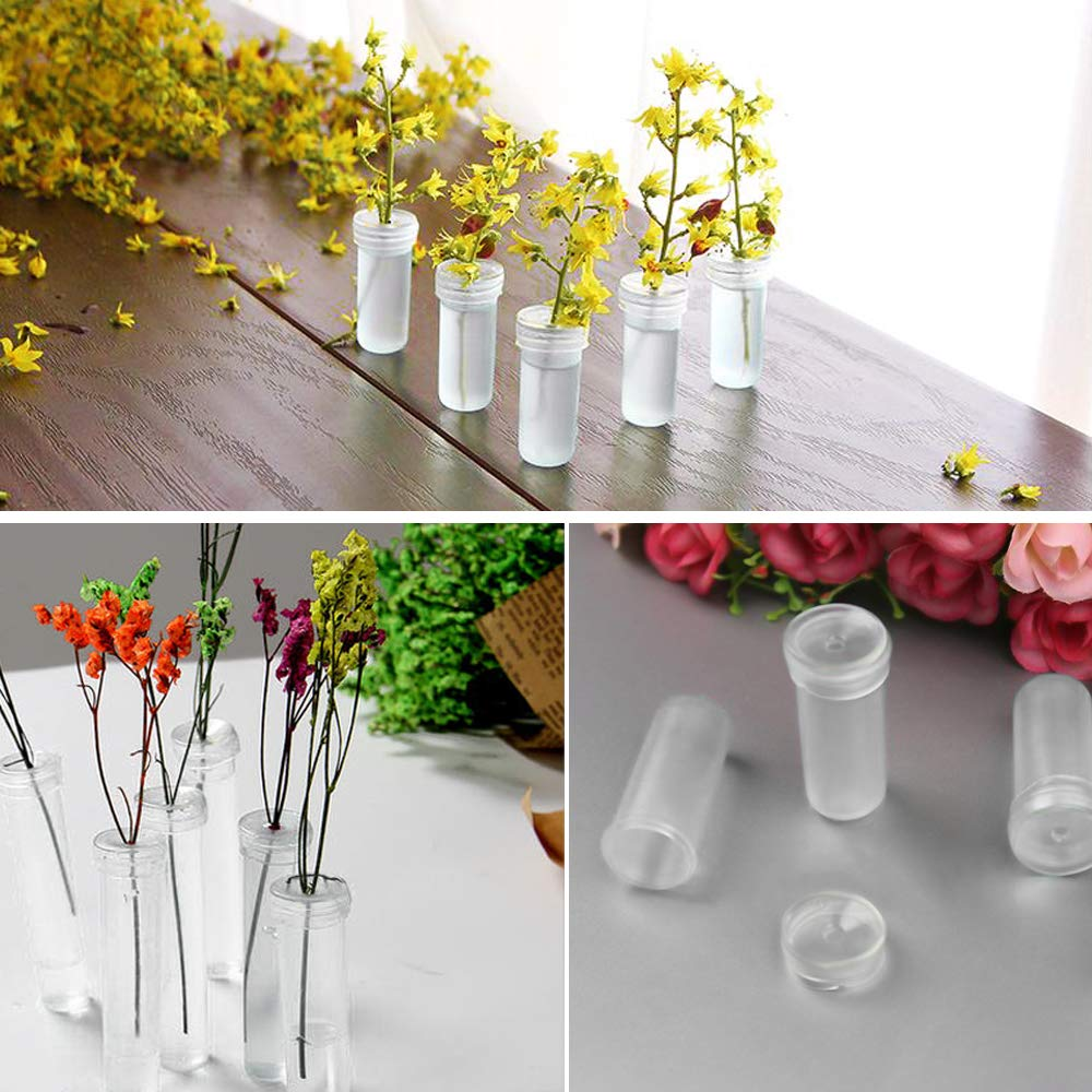 Faxco 100 Pack 1.6 Clear Plastic Flower Vials with Caps Floral Water Tubes for Keeping Flowers Fresh
