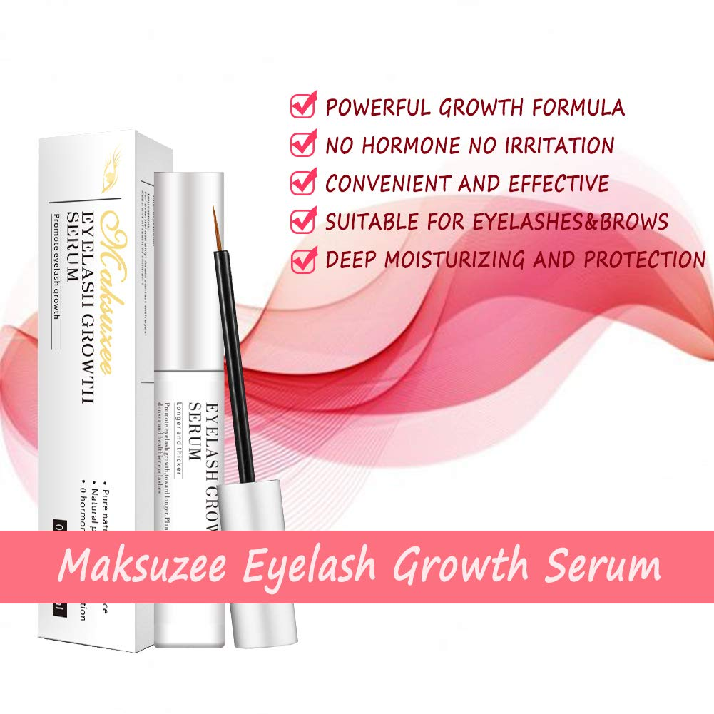 2b7eb02f864 Amazon.com: Maksuzee Eyelash Growth Serum(5ml) Pure Natural Formula Promote  Eyelash&Brow Growth Become Longer Thicker Healthier: Beauty