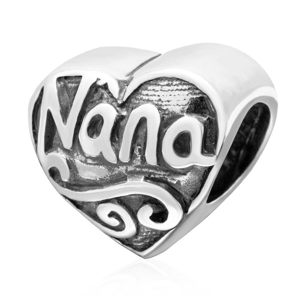 Granny Nanna Gift for Grandma Nan Nanny Charm Bracelet Sterling Silver