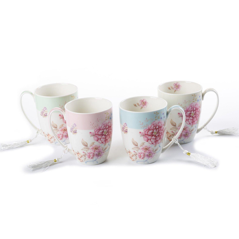 Tea Coffee Cup Mug Set 4 Ceramic Porcelain Bird Rose Butterfly Shabby Chic design in Gift Box 330ML 1 SET