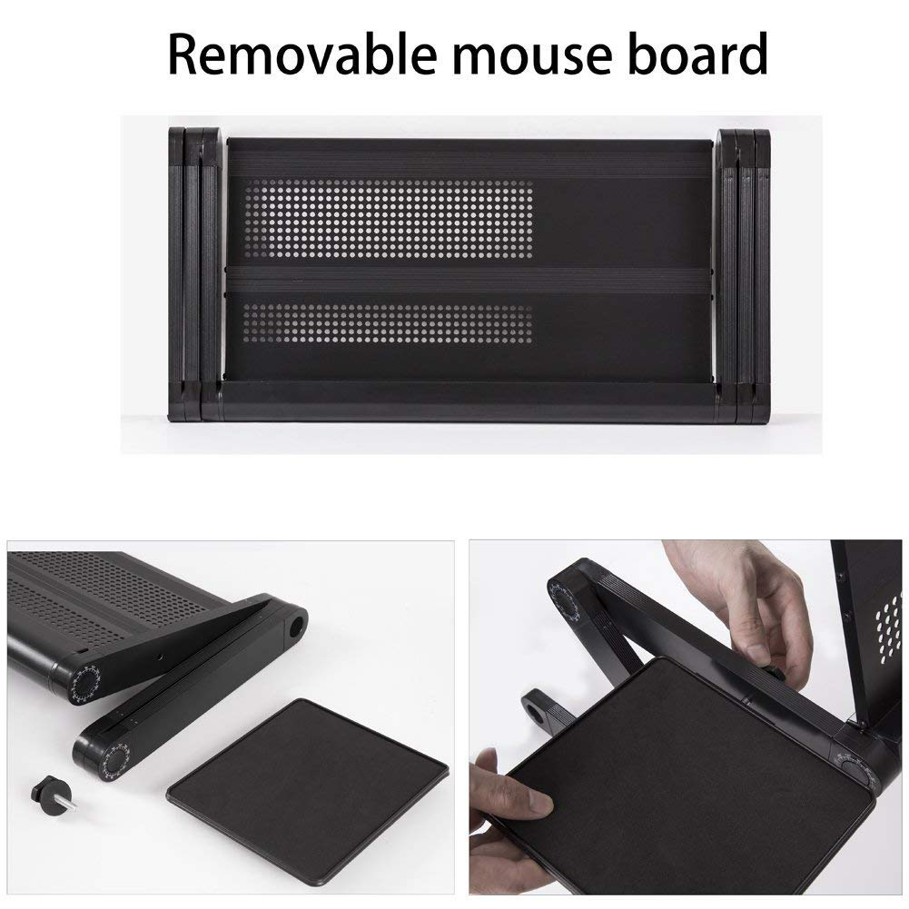 Laptop Table Stand,Portable Laptop Stand for Desk & Bed - Adjustable Riser Lap Tray Stand-Up Computer Lapdesks with Mouse Pad Side Compatible MacBook,Notebook & Tablets for Size up to 17'' (48cm) by YOJULY (Image #4)