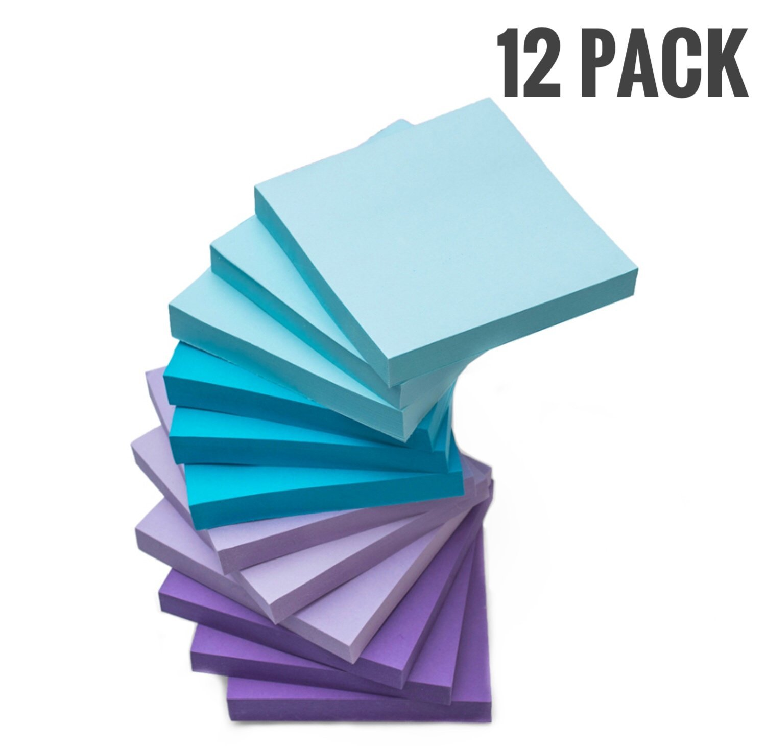Watercolor Sticky Notes 12 Pack 3'' X 3'' 100 Sheets Self Stick Notes Easy to Post