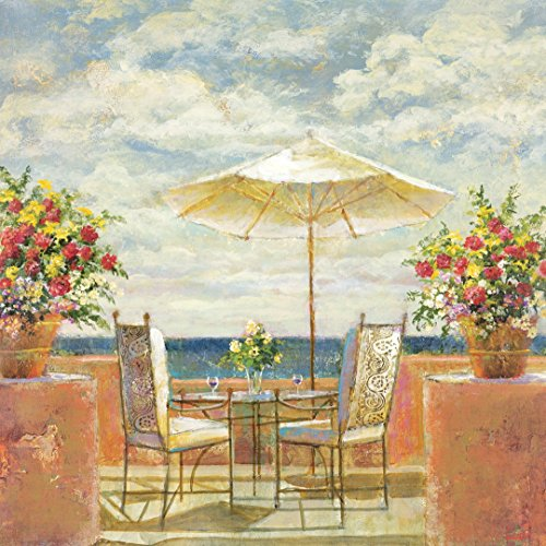 100% Hand Painted Modern Oil Painting, Umbrella Patio Landscape Oil Painting ()
