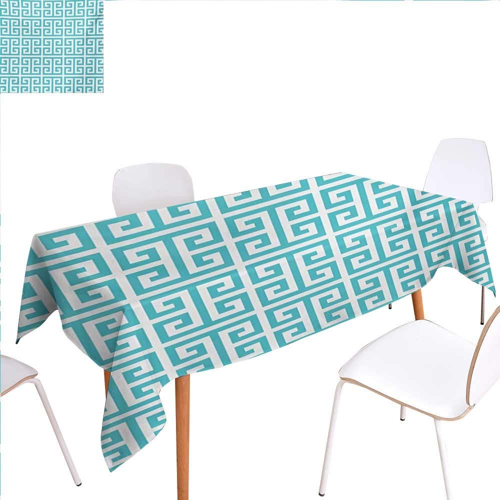 """familytaste Greek Key Dinning Tabletop Decoration Geometric Hellenic Fret Pattern in Pastel Blue and White Color Antique Revival Table Cover for Kitchen 60""""x102"""" Seafoam White"""