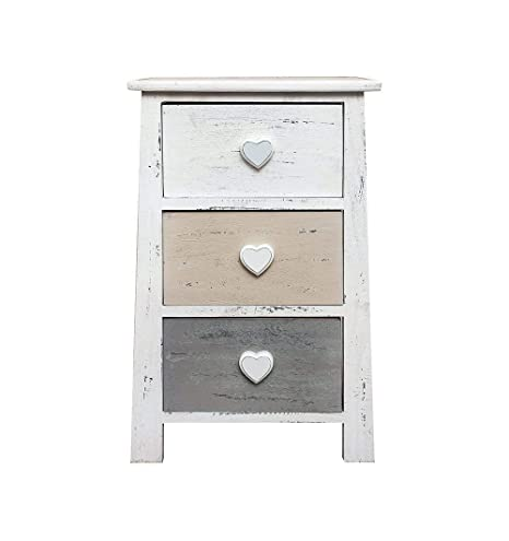Rebecca Mobili Mesita de noche de madera, cajonera shabby, 3 cajones, muebles para baño, madera, gris blanco- Medidas: 57,5 x 37 x 27 cm (AxANxF) - ...