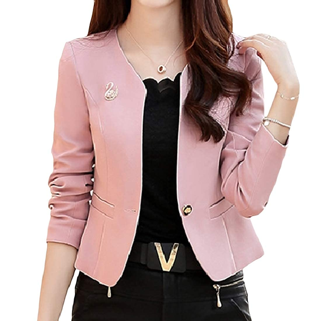 YUNY Women Round Neck Fashion Office Work Elegant Slim Fitted OL Business Suit 1 XL