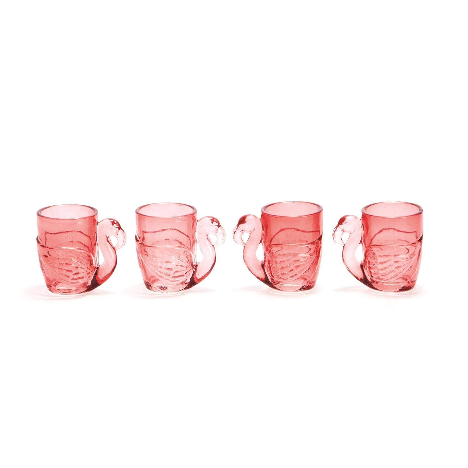 Two's Company Pink Flamingo Shot Glasses in Gift Box Set of 4