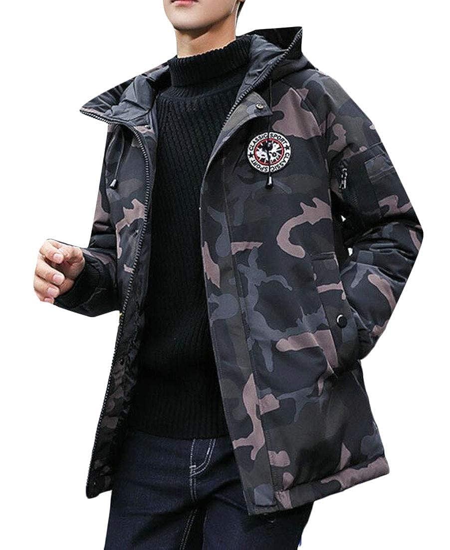 GenericMen Winter Hooded Zip Up Camo Down Puffer Coat Quilted Jacket