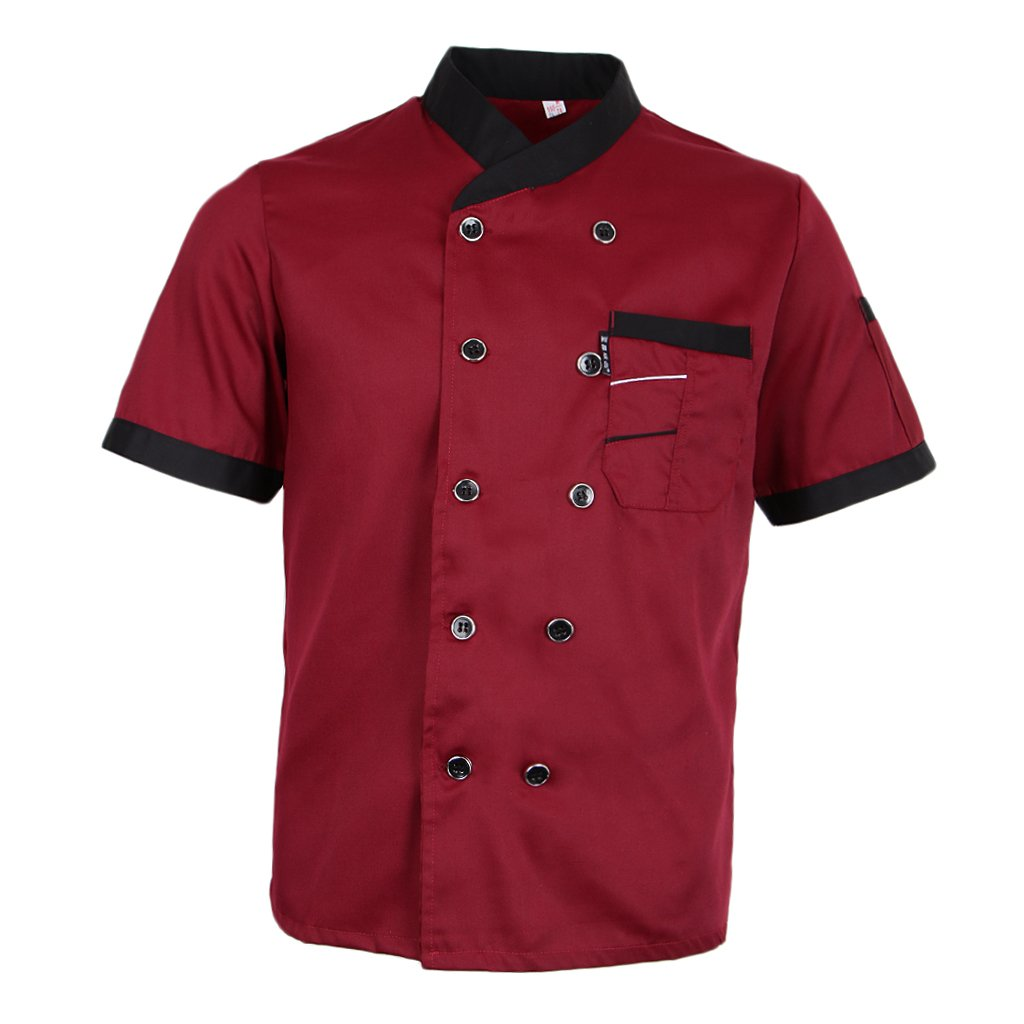 Fityle Chef Jacket Uniform Short Sleeve Hotel Kitchen Apparel Cook Coat 5 Colors - Red, M