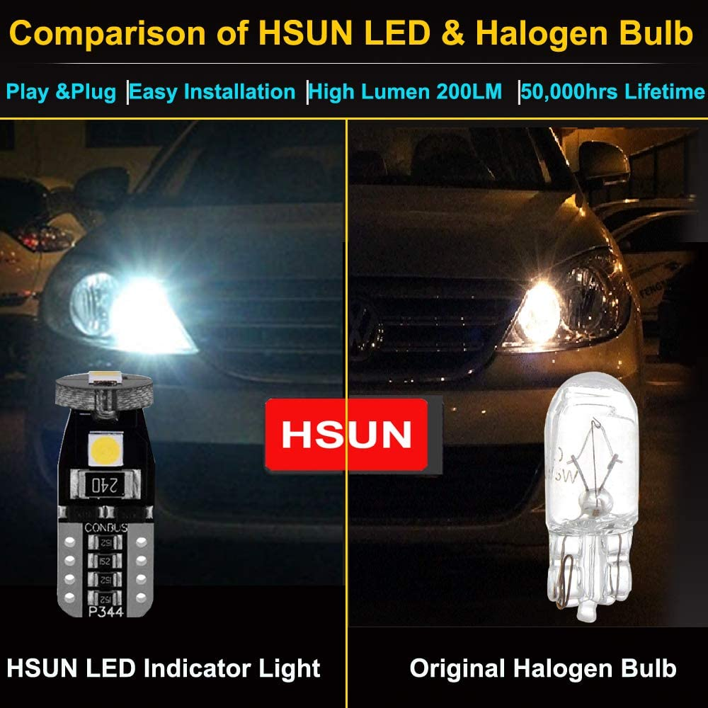 HSUN T10 W5W 12961 161 168 175 194 2825 LED Bulbs with 200LM Bright 2LED SMD3030 for Car Indicator Light,Dome Reading Light,Side Door Courtesy Lights and More,10 Pack,6000K White