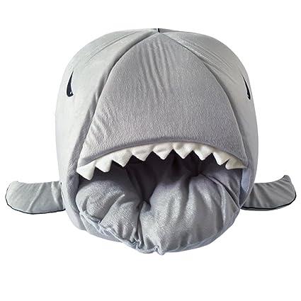 LEORX - Cucha con forma de tiburón para gato y perro, mascota,