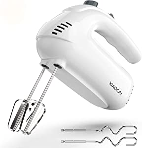 Hand Mixer Electric, 5-Speed 350 Power Handheld Mixer, Turbo Boost/Self-Control Food Beater with Stainless Steel Accessory (2x Beaters & 2x Dough Hooks)