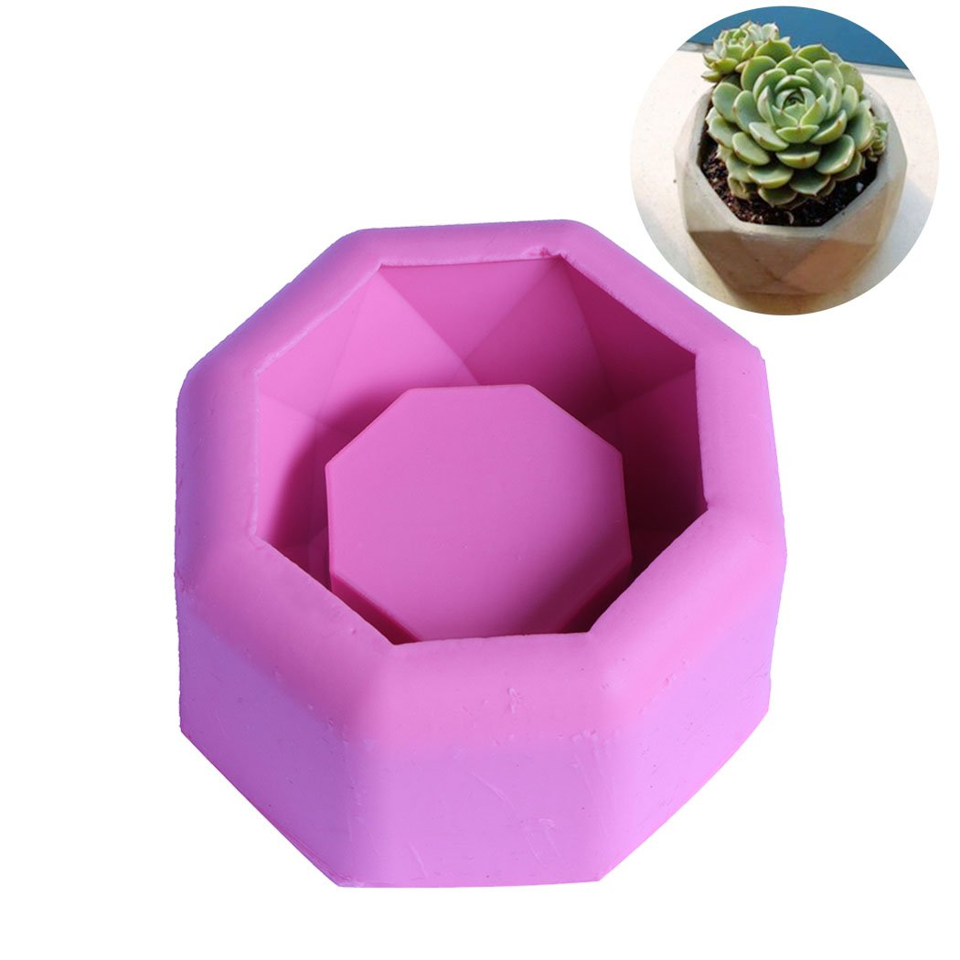DIY Flower Pot Silicone Rubber Molds Handmade Craft Mold Candle Succulent Plants Planter Vase Ashtray Mould Tool (Geometric Polygonal)