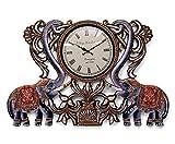 CraftVatika Handmade Extra Large Wall Clock , Decorative Artistic Painted- Wooden Elephant Figurine Wall Decor Clocks - 2 Feet Length X 1.4 Feet Height