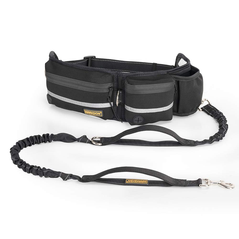 Hands Free Dog Leash, Dog Walking and Training Belt with Shock Absorbing Bungee Leash for up to 180lbs Large Dogs, Phone Pocket and Water Bottle Holder, Fits All Waist Sizes From 28'' to 48'' by FURRY BUDDY