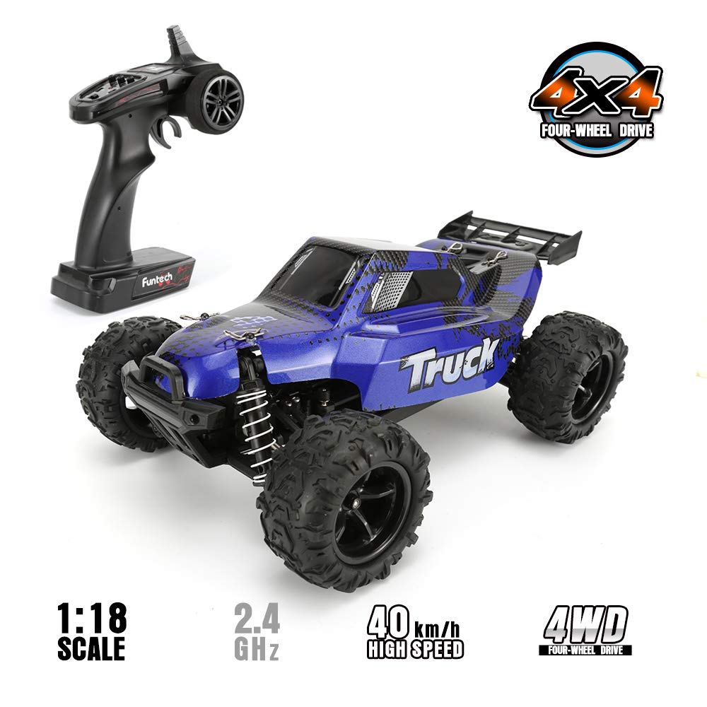 FunTech RC Car RTR (Ready to Run), RC Electric Racing Cars with Brush Remote Control Car Off Road Monster RC Truck, 1/18 Scale Off-Road 2.4-Ghz Radio RC 4WD High Speed Car, Blue