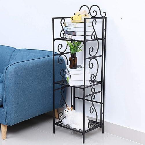 45″ H Metal Bookshelf Free Standing 3 Tier Book Storage Rack Organizer Bookcase Plant Stand Wire Shelving Unit Shelf