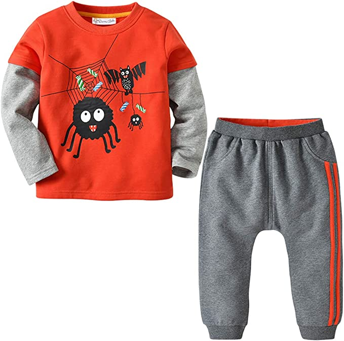 Little Boys Girls Comfort Clothes Set Cartoon Little Dinosaur Print Tops T-Shirt Adjustable Casual Pants 2 PC Set