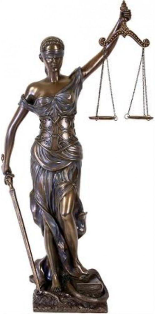 droit. Great D/éesse de la Justice Avocat Bronz/é Sculpture La figure Justitia