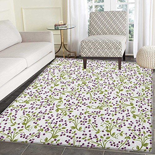 Flower Rugs for Bedroom Floral Pattern Wild Berries Ornamental Curvy Branches Foliage Fruits Botanic Circle Rugs for Living Room 4'x6' Purple Green White