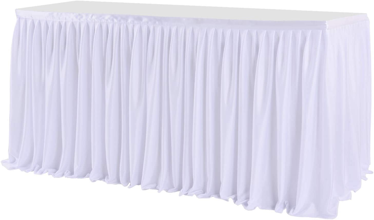 Little Funny 6ft White Polyester Pleated Table Skirts for Wedding, Bridal Shower, Baby Shower, Banquet, Gender Reveal, Party, Table Decorations for Rectangle Tables
