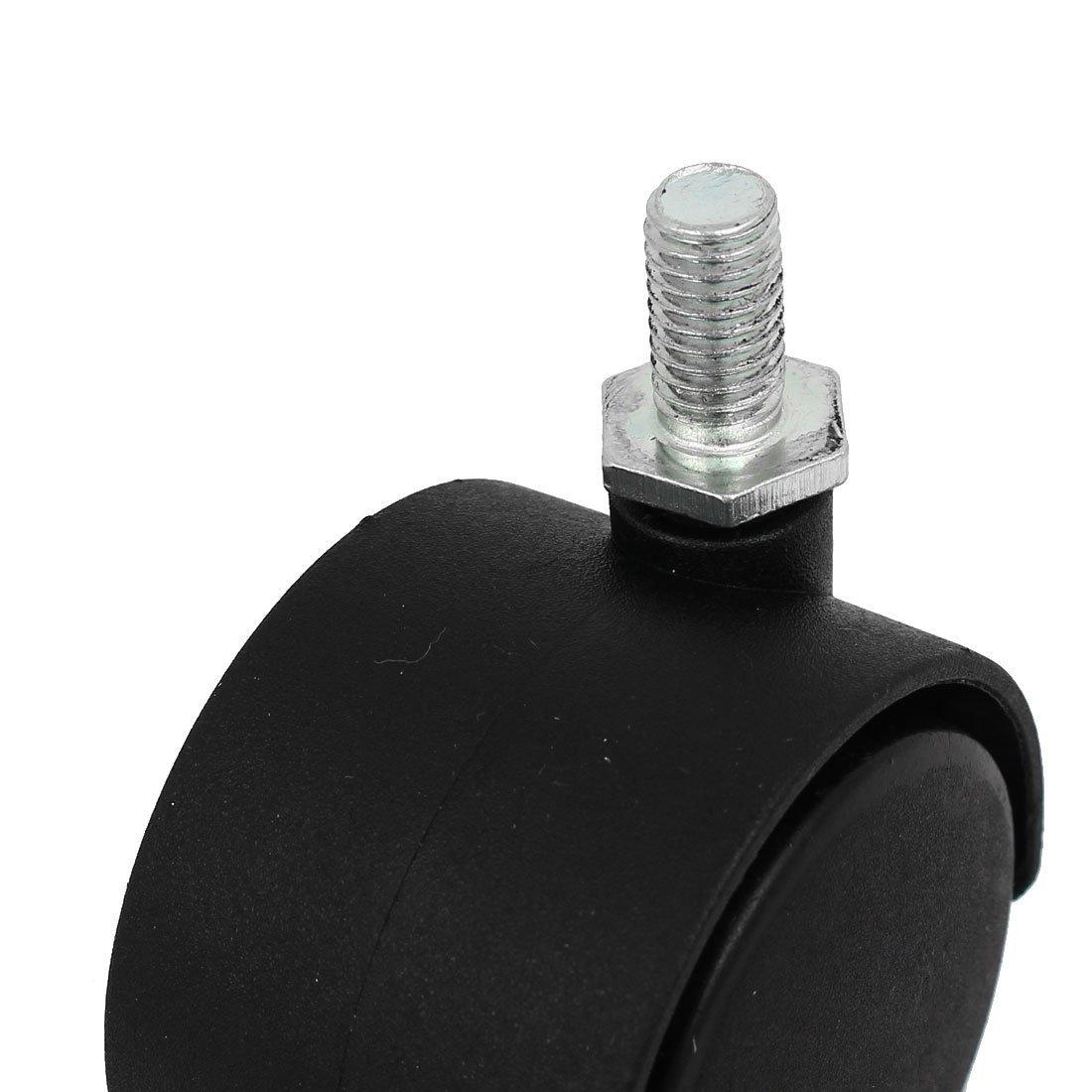 M8 x 15mm Threaded Rod 1.5 inch Diameter Swivel Wheel Without Brake 4PCS Wheel for Chair