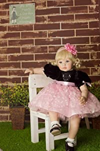 60CM Reborn Baby Toddler Girl Blonde Hair Princess Birthday Gift for Children Collectible Doll