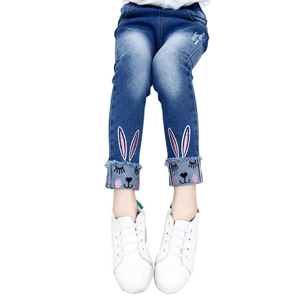 Zhengpin Girls Jeans Kids Stretchy Rabbit Embroidered Denim Pants Fashion Trousers