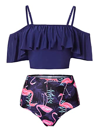 364976c0ef7 Kaei&Shi Strapless,Strappy Swimwear,Flamingo High Waisted Flounce Bikini  Set,Tummy Control Swimsuits