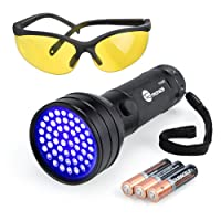 Black Light, TaoTronics UV Flashlights 51 Ultravilot Urine Detector for dogs, Free UV Sunglasses and Duracell Batteries included, Pet Stain Detector, Dog Urine Remover, Bed Bug Detector