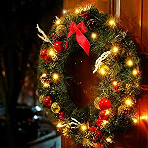 Valdler 22 Inch LED Lights Christmas Wreath with Spruce, Silver Bristle, Cones, Ornaments,Red Berries Winter Snow Garland 2