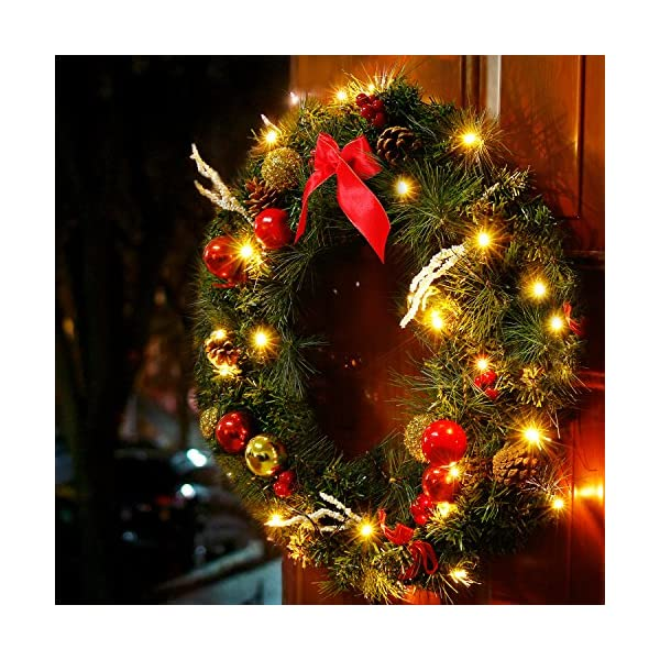 Valdler 22 Inch LED Lights Halloween Wreath with Christmas Spruce, Silver Bristle, Cones, Ornaments,Red Berries Winter Snow Garland