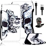 Samsung Galaxy S6 SM-G920F Case,Vandot 3in1 Set Colorful Painting Pattern PU Leather Magnetic Closure Flip Stand Wallet Case Cover [Anti-Scratch][Perfect Fit] Skin Shell+Bling Skull Anti Dust Plug+USB Data Cable-Skull Flower
