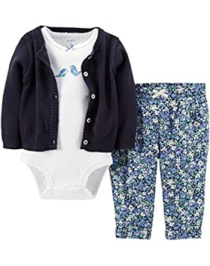 3 Piece Layette Set (Baby) - Navy/Floral