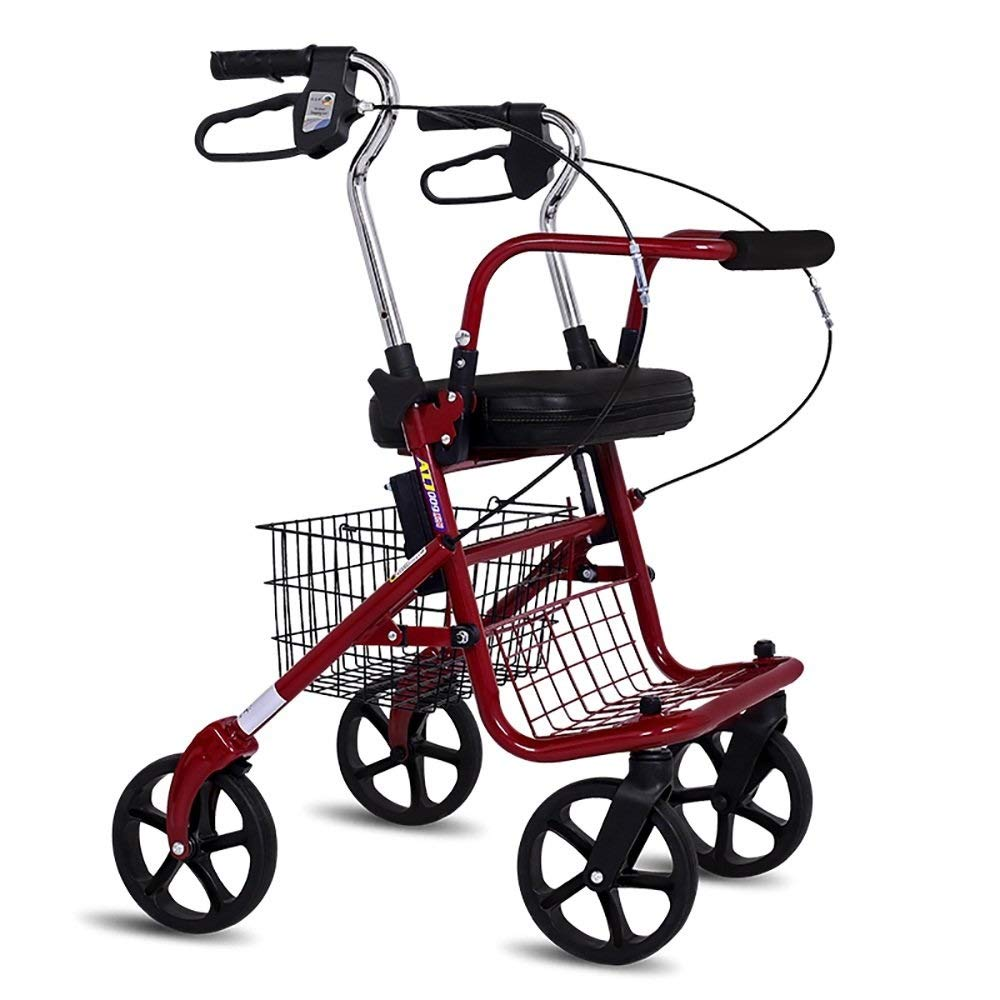 Folding Four-Wheeled Walker Adjustable Height with Seat and Basket for The Elderly Shopping Aluminum Walking Frame Pedal Walker Trolley Auxiliary Walking Safety Walker by YL WALKER (Image #2)