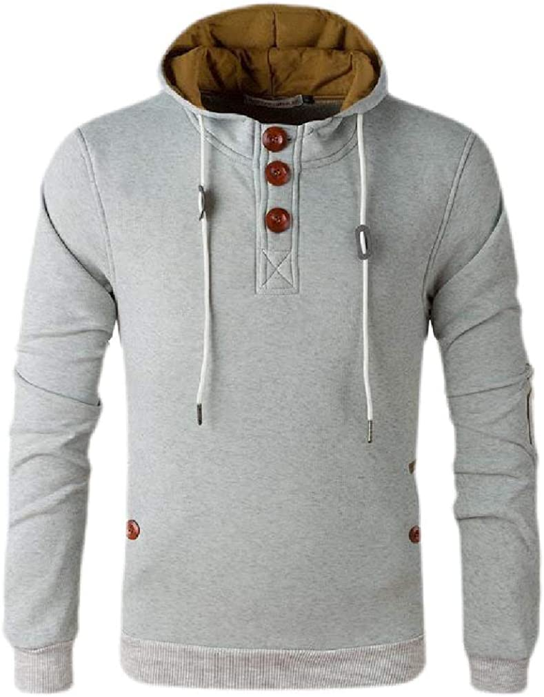 Wofupowga Men Fashion Pullover Long-Sleeve Hoodies Top Elbow Patch Sweatshirts