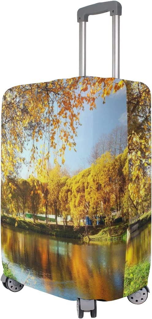 OREZI Luggage Protector,Pond In Autumn Yellow Leaves Reflection/_15719123 Elastic Travel Luggage Suitcase Cover,Washable and Durable Anti-Scratch Case Protective Cover for 18-32 Inches