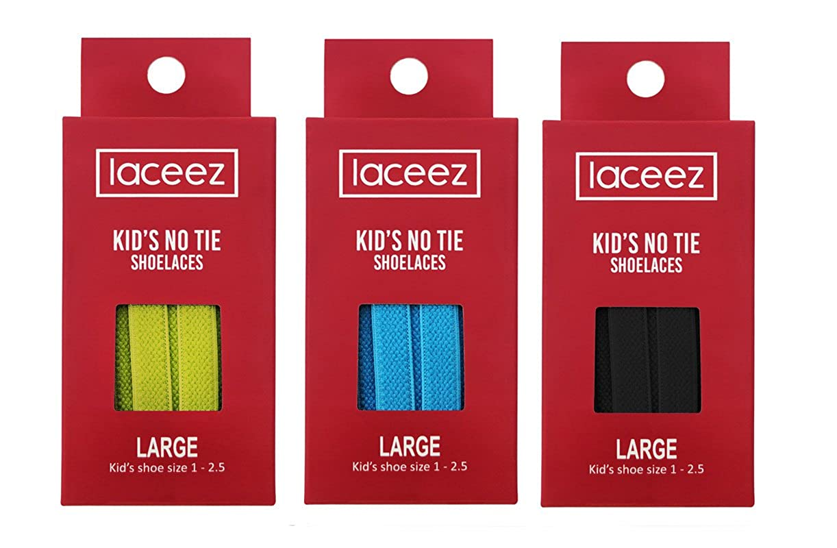 6caae66f3110 Amazon.com  LACEEZ No Tie Shoelaces for Kids 3 Pack - Elastic Shoe Laces  for Casual