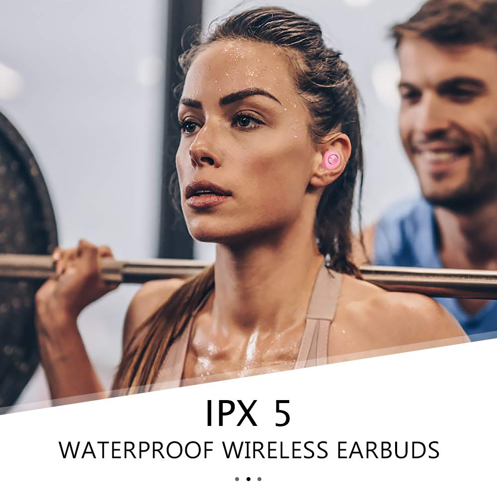 Elecder D11 True Wireless Earbuds Bluetooth 5.0 Headphones in Ear with Microphone, IPX5 Waterproof, Charging Case for Workout,Running in-Ear Headphones Pink
