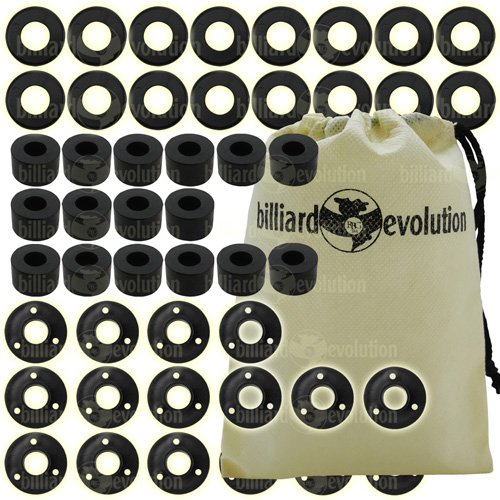 Set of 16 Smooth Rubber Bumpers, 16 Black Outside Bushings & 16 Nylon Washers for Foosball Table & Billiard Evolution Drawstring Bag