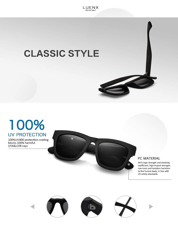 ffaabf0ba76 Amazon.com   LUENX Polarized Sunglasses Classic Mens UV 400 Protection  Black Lens Matte Black Frame 58MM with Case   Sports   Outdoors