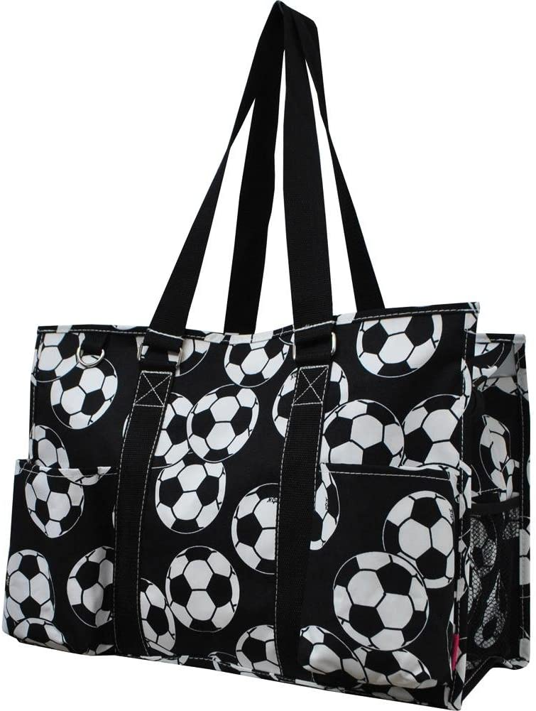 Ocean Themed Prints NGIL Large Travel Caddy Organizer Tote Bag (Navy Soccer Balls Print)