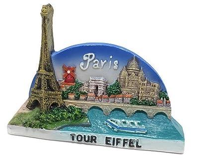 Paris Eiffel Tower France Souvenir Fridge Magnet Toy Set 3D Resin Collection