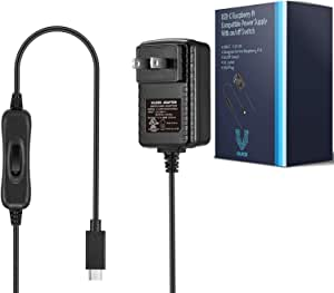 Vilros Raspberry Pi 4 Power Supply (USB-C) with on/Off Switch